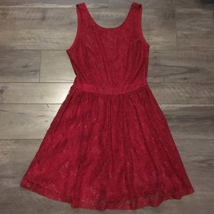 Forever 21 Red Sleeveless Lacey Dress